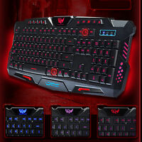 USB Wired Gaming Keyboard Qwerty 3 Color Illuminated LED Backlight Multimedia PC
