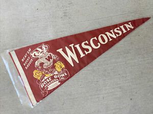1963 Wisconsin Badgers Football Rose Bowl RARE Vintage Full Size Felt Pennant