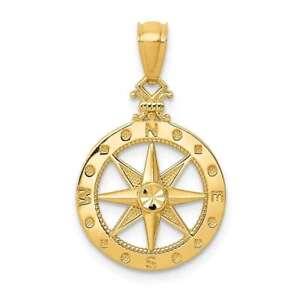 14K Yellow Gold Shiny-Cut Polished Compass Pendant K6095