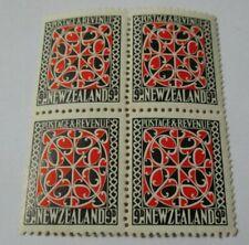 1926 NEW ZEALAND 9d MAORI PANEL BLOCK OF 4 U/M
