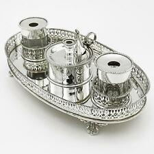 More details for edwardian silver plate inkwell desk stand c1910