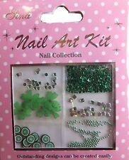 """Nail Art Kit 11"" 3D Set grün dekoration  Blüten - Sterne - Perlen - Steine TOP"