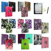 For iPad 4 4G Gen 3 iPad 2 Rotating Magnetic PU Leather Case Smart Cover