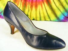 size 7 ladies vintage 50's dark blue leather pumps shoes Nos