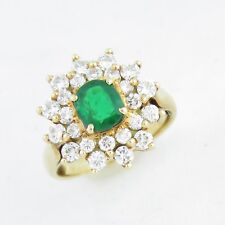 NYJEWEL 14K Solid Gold Natural Emerald 2ct Diamond Cocktail Ring