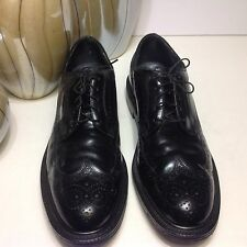 Vtg American Gentlemen Black leather wingtip dress oxfords Size 11 B
