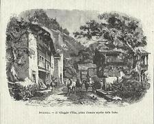 Stampa antica ELM veduta del villaggio Glarona Glarus 1881 Old antique print