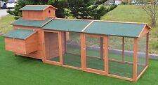 "124"" Wood Hen Chicken Cage House Coop Huge w/Run 6 nesting boxes 10'"
