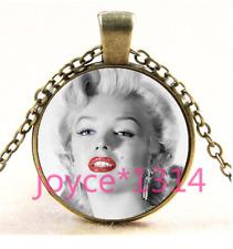 Marilyn Monroe Cabochon bronze Glass Chain Pendant Necklace TS-4363