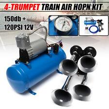 Quad 4 Air Train Horn Semi Truck Car Boat Chrome Horns 120 PSI Blue Compressor