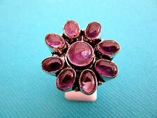 925 Silver Overlay Ring With Round & Oval Cut Amethyst UK Q 1/2 US 8.75 (rg2056)