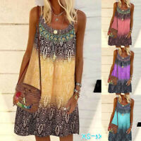 Women Summer Casual Sleeveless Crew Neck Sling A-Line Floral Loose Chiffon Dress
