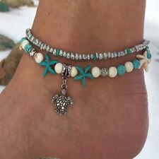 Doppelkette Türkis Perlen Armband Fußkettchen Schildkröte Seestern Fußkette