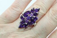 Ring Purple Amethyst Genuine Gems Solid Sterling Silver Cluster Size S  US 9.25