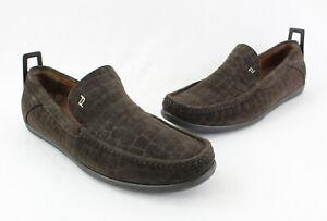 Porche Design Men's Brown suede Embossed Slip On Loafer Shoe Size 11