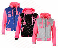 L87 NEW GIRLS KIDS UNISEX BOYS BASEBALL R VARSITY HOODED JACKET TOP