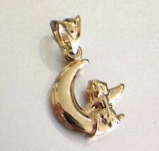 Cute New 10K Yellow Gold Puffy Angel Sitting on Moon Pendant Charm for Necklace