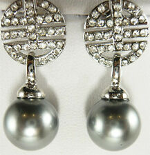 Gray Shell Pearl Chinese Fortune Longevity White Gold Plated Crystal Earrings