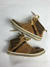 Steve Madden Mens 8.5 RISTT Brown Leather High Top Casual Shoe Sneaker