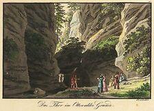 SÄCHSISCHE SCHWEIZ - Uttewalder Grund - J.C.A. Richter - kol. Radierung 1825