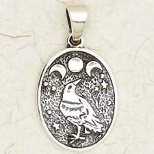Celtic Moon Raven-.925 Sterling Silver/Druid/Occult/Celestial/Pendant/Jewelry