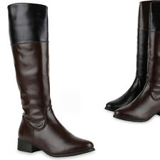 Damen Reiterstiefel Leder-Optik Langschaft Boots Klassisch 812637 Trendy