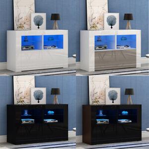 100cm Modern TV Unit Led Lights Cabinet Stand Matt& High Gloss White -4 Colours