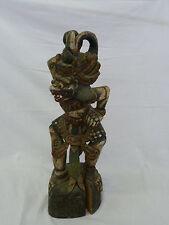"Antique Bali Hanuman Monkey God Wood Carved Polychrome Painted Statue 19"" High"