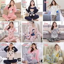 2Pcs/set para mujeres dibujos animados Ropa Para Dormir Pijama Manga Larga Estampada homewear Cálido