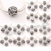 10x Tibet Silver Multi Style Big Hole Spacer Loose Beads Jewelry Findings 10mm