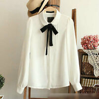 Women Top Shirt Blouse With Bow Tie Long Sleeve Office Casual Fashion Elegant