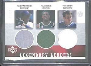 2003 Upper Deck UD Superstars Tri Relic Tom Brady Paul Pierce Pedro Martinez