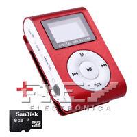 Reproductor MP3 CLIP con Pantalla LCD Color Rojo + MicroSD 8 Gb d41/v52