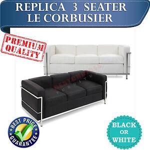 WHOLESALE Replica Le Corbusier 3 Seater Sofa Lounge in Black or White Leather