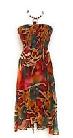 Ladies Smocked Tube Top Fully Lined Maxi Dress with Jewelry Trim NWT S-M-L-XL