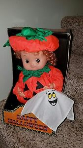 New in Box 1980's Padma Animated/Sound Happy Halloween Kid Pumpkin Boy 5046