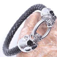 Punk Men serpent cordon noir Faux cuir Skull Bracelet Bracelet manchette 9HK