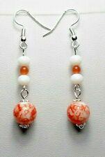 Dangle earrings - Orange + White glass beads, 54 mm long