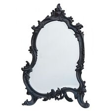 New French Rococo Antique Style Black Ornate Bedroom Dressing Table Wall Mirror