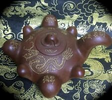 UNUSUAL 4 1/2 INCH DIAM VINTAGE CHINESE YIXING RED CLAY TEAPOT w/ DRAGON ~ ZISHA