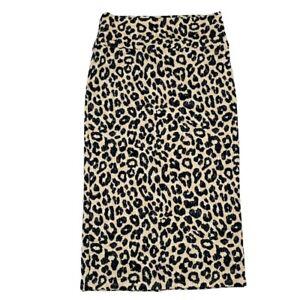 LuLaRoe IVY Midi Pencil A-Line Skirt Cheetah Leopard L Black Cream Animal Print
