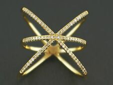 0.22ct Pave Round Diamond 14K Yellow Gold CrissCross Bar Knuckle X Ring - Size 8