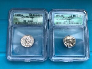 Julia Mamaea AD 218-235 silver Denarius two coins AU-55.