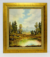 Country Forest Pond 20 x 24 Art Oil Painting on Canvas w/Custom Gold Frame