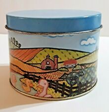 New listing Vintage Meister Decorative Collectible Tin Round Container Farm Scene Country