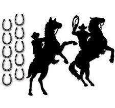 Cowboys on Horses Silhouette Cutout western party 12 black cardboard decorations