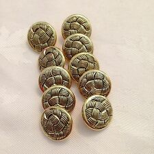 10 x 18 mm Gold Coloured Metal Effect Buttons #179