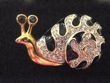 Swarovski Swan Signed Black Enamel Multi Crystal Gold Tone Snail Brooch 224