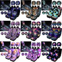 Animals Car Headrest Covers+Seat Covers+Coaster+Shift Knob&Handbrake Cover 10pcs