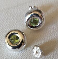 Sterling Silver Earrings set with Peridot, Designer Polished Round, 4mm Stone